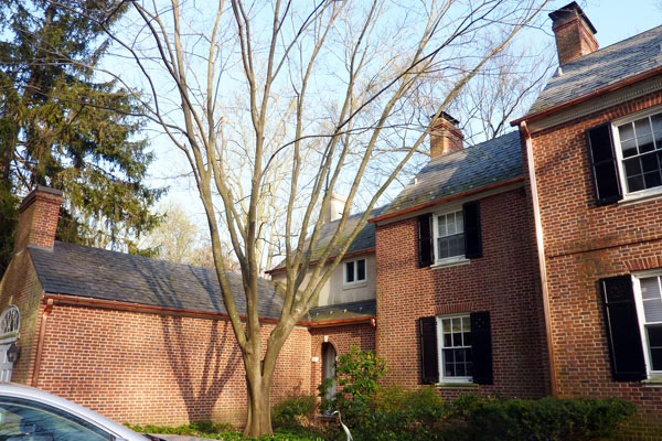 copper gutters on a brick colonial style home in Maryland