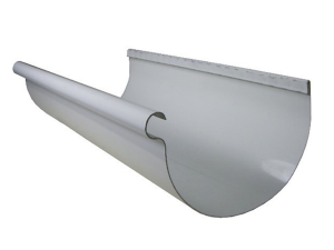 white aluminum half round gutter sample photo