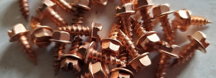 copper screws close up